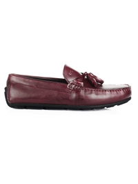Burgundy Tassel Moccasins Leather Shoes main shoe image
