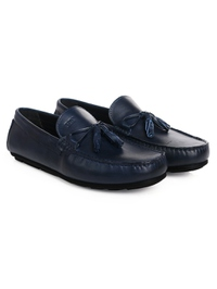 Dark Blue Tassel Moccasins Leather Shoes alternate shoe image