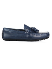 Dark Blue Tassel Moccasins Leather Shoes main shoe image