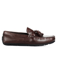 Brown Tassel Moccasins Leather Shoes main shoe image