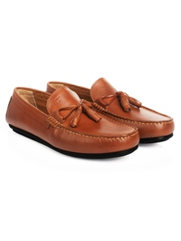 Tan Tassel Moccasins Leather Shoes alternate shoe image