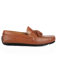Tan Tassel Moccasins Leather Shoes main shoe image