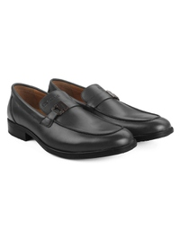 Gray Side Buckle Slipon Leather Shoes alternate shoe image