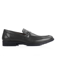 Gray Side Buckle Slipon Leather Shoes main shoe image