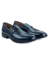 Dark Blue Side Buckle Slipon Leather Shoes alternate shoe image