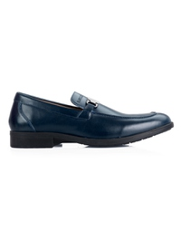 Dark Blue Side Buckle Slipon Leather Shoes main shoe image