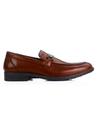 Tan Side Buckle Slipon Leather Shoes main shoe image