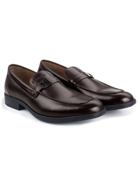 Brown Side Buckle Slipon Leather Shoes alternate shoe image