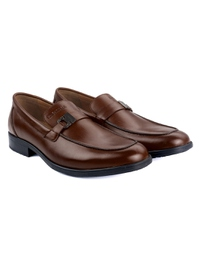 Coffee Brown Side Buckle Slipon Leather Shoes alternate shoe image