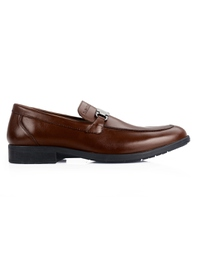 Coffee Brown Side Buckle Slipon Leather Shoes main shoe image