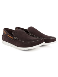 Brown Slipon Boat Leather Shoes alternate shoe image