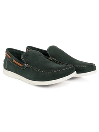 Green Slipon Boat Leather Shoes alternate shoe image