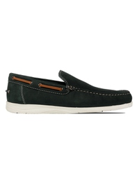 Green Slipon Boat Leather Shoes main shoe image
