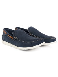 Dark Blue Slipon Boat Leather Shoes alternate shoe image