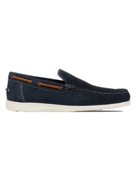 Dark Blue Slipon Boat Leather Shoes main shoe image