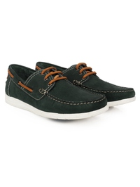 Green Derby Boat Leather Shoes alternate shoe image