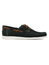 Green Derby Boat Leather Shoes main shoe image