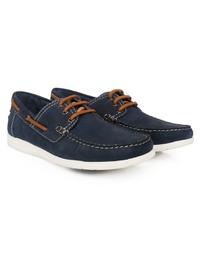 Dark Blue Derby Boat Leather Shoes alternate shoe image