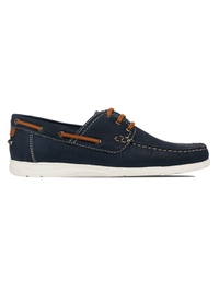 Dark Blue Derby Boat Leather Shoes main shoe image