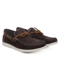 Brown Laced Boat Leather Shoes alternate shoe image