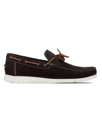 Brown Laced Boat Leather Shoes main shoe image