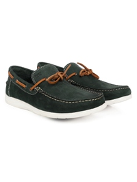 Green Laced Boat Leather Shoes alternate shoe image