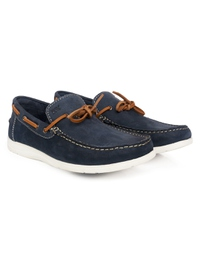 Dark Blue Laced Boat Leather Shoes alternate shoe image