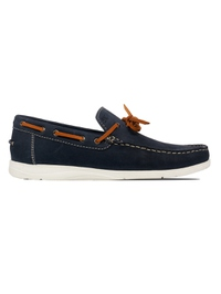 Dark Blue Laced Boat Leather Shoes main shoe image
