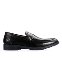 Black Apron Half Strap Leather Shoes main shoe image