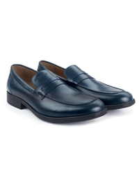 Dark Blue Apron Half Strap Leather Shoes alternate shoe image