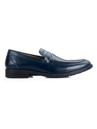 Dark Blue Apron Half Strap Leather Shoes main shoe image