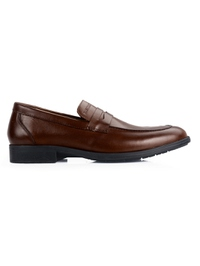 Coffee Brown Apron Half Strap Leather Shoes main shoe image