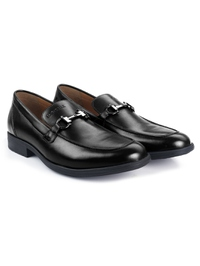 Black Full Buckle Slipon Leather Shoes alternate shoe image