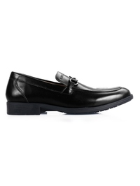 Black Full Buckle Slipon Leather Shoes main shoe image