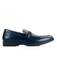 Dark Blue Full Buckle Slipon Leather Shoes main shoe image