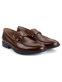 Coffee Brown Full Buckle Slipon Leather Shoes alternate shoe image