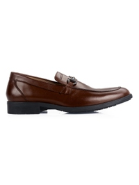 Coffee Brown Full Buckle Slipon Leather Shoes main shoe image