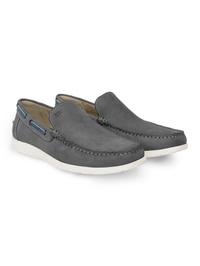 Gray Slipon Boat Leather Shoes alternate shoe image
