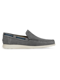 Gray Slipon Boat Leather Shoes main shoe image