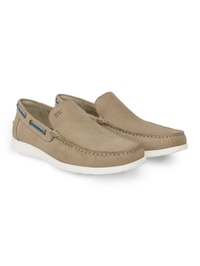 Beige Slipon Boat Leather Shoes alternate shoe image
