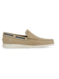 Beige Slipon Boat Leather Shoes main shoe image