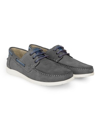 Gray Derby Boat Leather Shoes alternate shoe image