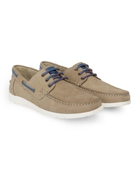 Beige Derby Boat Leather Shoes alternate shoe image
