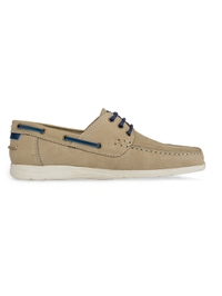 Beige Derby Boat Leather Shoes main shoe image