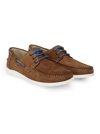 Tan Derby Boat Leather Shoes alternate shoe image