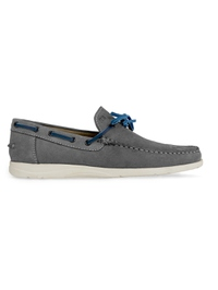 Gray Laced Boat Leather Shoes main shoe image