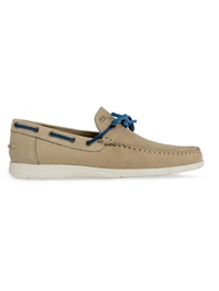 Beige Laced Boat Leather Shoes main shoe image