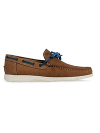 Tan Laced Boat Leather Shoes main shoe image