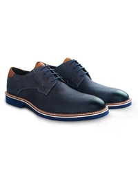 Dark Blue Outdoor Plain Derby Leather Shoes alternate shoe image