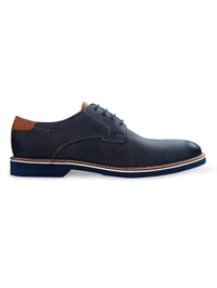 Dark Blue Outdoor Plain Derby Leather Shoes main shoe image